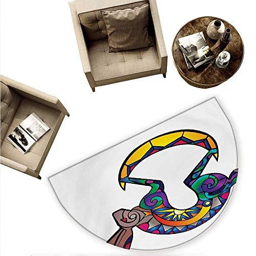 - Southwestern Half Round Door mats Kokopelli Hare Figure Abstract Colorful Silhouette Spiritual Primitive Symbol Bathroom Mat H 66.9