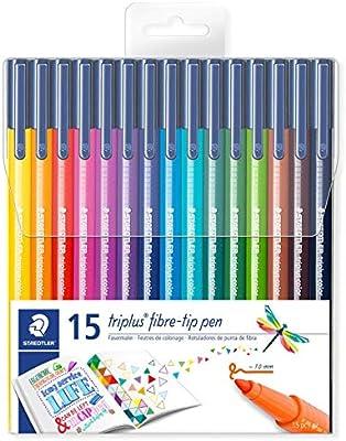 Staedtler 323 TB15 - Rotuladores Triplus Color 323 punta de fibra. Estuche con 15 rotuladores colores surtidos: Amazon.es: Oficina y papelería