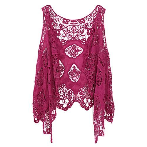 Jastie Open Stitch Cardigan Boho Hippie Butterfly Crochet Vest (Rose), Medium