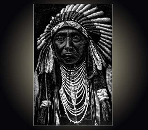 Lithograph print Chief Joseph A pen and ink on scratchboard drawing of American Indian Chief Joseph