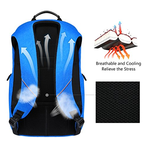 HAWEEL Outdoor Multi-function Solar Panel Power Breathable Casual Backpack Laptop Bag School Bookbag for College Travel Backpack, With USB Charging Port & Earphone Port (Blue) by HAWEEL (Image #3)