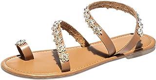 Strass Sandali Donna Slip On,Cristallo Open Toe Flip Flop Eleganti Scarpe Romane Basse Infradito Iattaforma Confortevole Grandi Dimensioni Pantofole Casuali Scarpe da Spiaggia