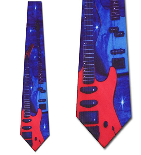 Men's Red & Blue Electric Guitar Rock and Roll Music Three Rooker Necktie Tie (Electric Blue Long Tie)
