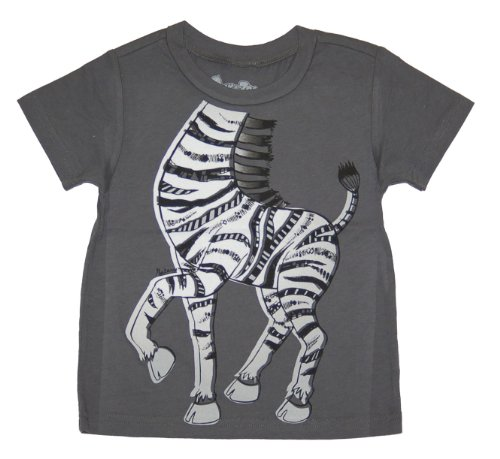 Peek-A-Zoo Toddler Become an Animal Short Sleeve T shirt - Zebra Charcoal (2T) -