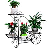 JOANNA'S HOME Garden Cart Plant Stand,Metal Plant Holder Display Rack,Tiered Plant Stand in Royal Carriage Style for Home, Garden,Yard Decoration - Black