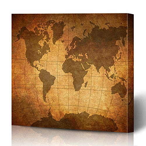 Ahawoso Canvas Prints Wall Art Printing 16x16 Map Discovery Brown Atlas Antique Europe Aged Old Vintage Manuscript Texture Maps Design Parchment Painting Artwork Home Bedroom Living Room Office Dorm