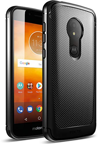 Moto E5 Play Case, Poetic Karbon Shield [Shock Absorbing] Slim Fit TPU Case with [Carbon Fiber Texture] for Motorola Moto E5 Play Black