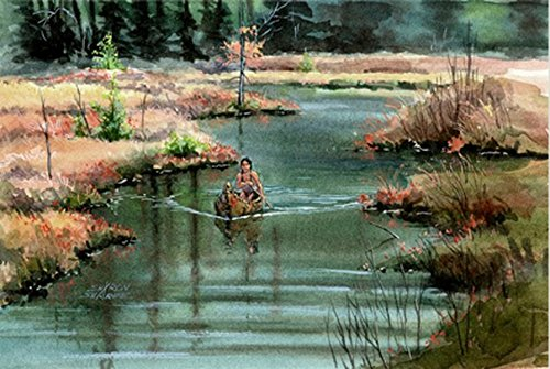 - INDIAN CANOE on RIVER WATERS by Sharon Sharpe