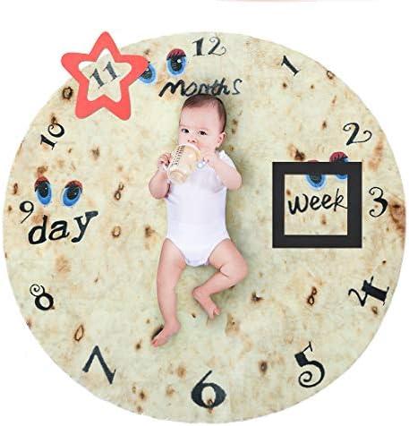 Moosth Burrito ベビーマイルストーンブランケット ソフトフランネル トルティーヤ受け取り 赤ちゃん用おくるみブランケット 女の子または男の子