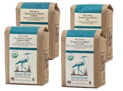 - Great River Organic Milling, Bread Flour Blends, 4 Pack - Variety Pack, Oatmeal, Rye, Sunflower Millet, Seven Grain, Organic, 5-Pounds (Pack of 4)