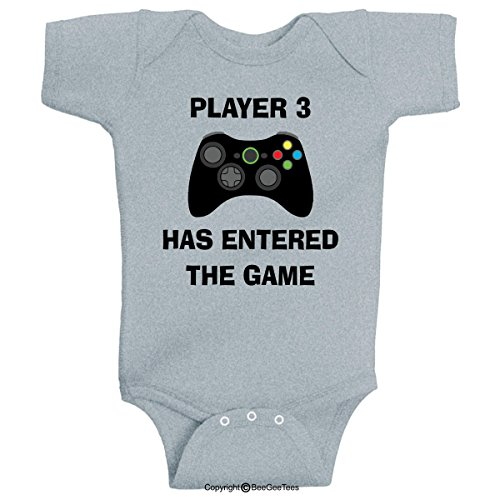 BeeGeeTees Player 3 Has Entered The Game Funny Baby Onesie (Boys and Girls) (6 Months, Gray)