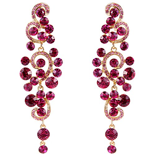 BriLove Wedding Bridal Statement Earrings for Women Bohemian Boho Crystal Floral Hollow Chandelier Dangle Earrings Fuchsia ()