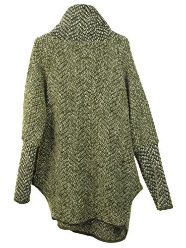 Marl Mesdames Cocoon Veste Kaki Oversize Femmes Feel Cape Wool Manteau Poncho italienne Layer GG Quirky Lagenlook Coatigan Zip Chenille Collar HAnddqpO