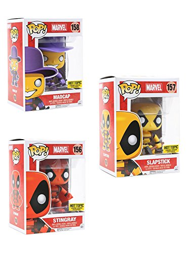 Funko POP! Marvel Deadpool Stingray , Slapstick and Madcap Hot Topic Exclusive Mystery Limited Edition Orange , Yellow and Purple 3 Pack -
