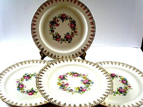 4 Vitreous China - Edwin M. Knowles Antique Floral Cartouche Dinner Plate Set of Four Semi Vitreous 10.25