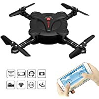 RC Quadcopter Drone with FPV Camera Live Video - Flexible Foldable Aerofoils - App WiFi Phone Control - Altitude Hold 3D Flips & Rolls- 6-Axis Gyro Gravity Sensor RTF Helicopter, Black