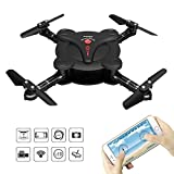 Goolsky FQ777 FQ17W 6-Axis Gyro Mini WiFi FPV Foldable G-Sensor Pocket Drone with 0.3MP Camera Altitude Hold RC Quadcopter (Black)