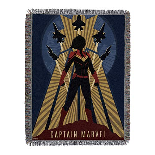 Gray Jay Franco Captain Marvel Taking Off Throw Blanket
