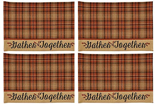 Park Designs Gather Together Fall Orange Tan Red Embroidered Border Placemats 13 x 19 Inches, Set of 4