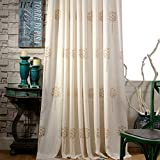 Embroidered Linen Cotton Curtains Living Room Drapes - Anady Top 2 Panel Light Brown and Ivory Flower Curtains Drapes Grommet 96 inch Long(Customized Available)