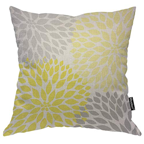 Moslion Throw Pillow Cover Dahlia Flowers 18x18 Inch Nature Fashion Petal Yellow Gray Square Pillow Case Cushion Cover for Home Car Decorative Cotton Linen