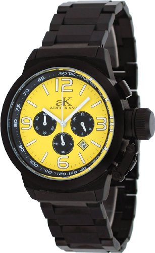 Adee Kaye #AK4021-MIPB Men's Black IP Stainless Steel Russian Dive Style Chronograph Watch