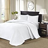 3pc Oversized King Bedspread Floor Set, Solid White Warm Tone, 120 X 118, Stylish Classic Stitched, Microfiber, Coverlet Allover Quilt Drops Over Edge King Beds