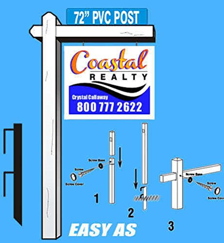 White Vinyl PVC Real Estate Sign Post - 6' Tall Post w/36
