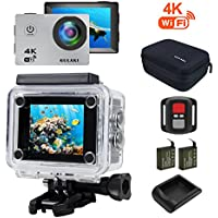4K Sports Action Camera, GULAKI Waterproof Action Cam Mini Sport Camera with WIFI Remote Control 170 Degree HD Video Wide Angle Full Accessories Kits Case Include 2 Rechargeable Battery