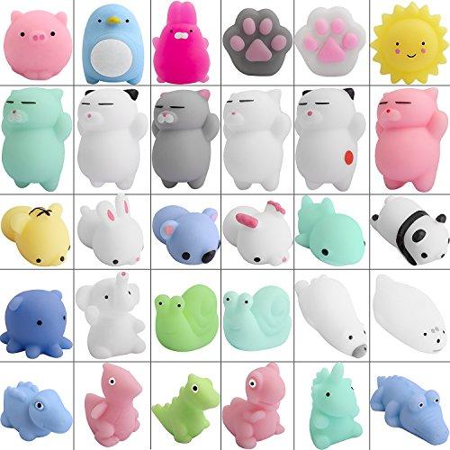 (Hicdaw 30 Pcs Mochi Squishy Toys Mini Kawaii Animal Squishy Stress Relief Toys Seal Cat Pig Elephant Tiger Rabbit Panda)