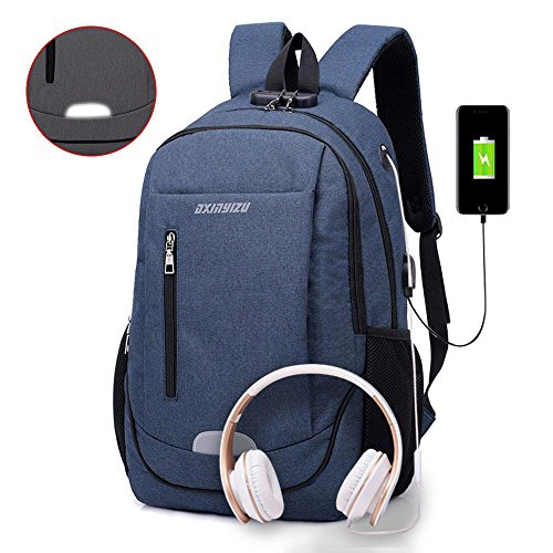 Leegoal Anti Theft Laptop Backpack, (TM) Waterproof Business Backpack with USB Charging Port & Headphone Port & Night Reflective Strip, Fits Up to 15.6 Inch Notebook/Laptop/Tablet (Lock Notebook Durable)