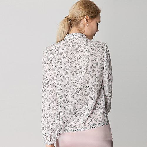 LilySilk Silk Shirts For Women and Ladies Floral Printed Pattern Tie Neck 18MM Pure Mulberry Soft Buttons Long Sleeve Blouse Floral L/12 by LilySilk (Image #4)
