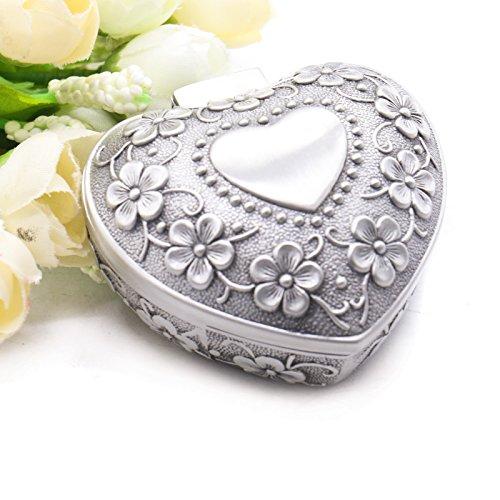 MAISHO Small Vintage Antique Heart Shape Ring Box Small Trinket Jewelry Storage Organizer , (Heart Silver Trinket Box)