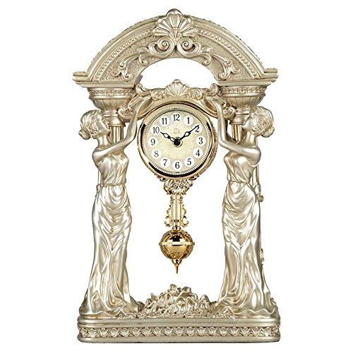Diyida(チイダ)時計 置時計 アンティーク クラシック おしゃれ レトロ インテリア 振り子時計 アンティーク スタンダードアナログ置き時計 ゴールド 66098-01 金色 B01GJK3UYC金色