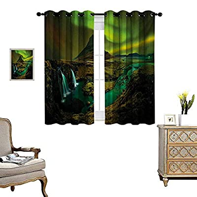 Aurora Borealis Room Darkening Wide Curtains Pale Weather Over The Hills with Waterfall Creek Nature Landscape Decor Curtains by W55 x L39 Fern and Olive Green