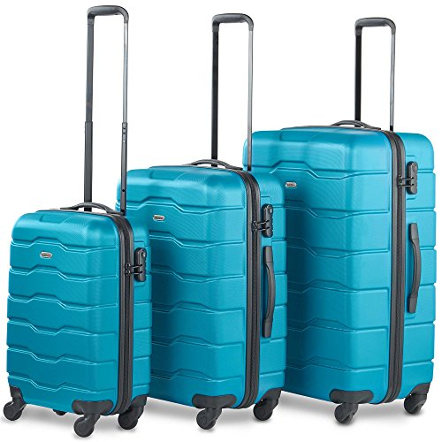 VonHaus Luggage Set of 3 ABS Lightweight Hard Shell Teal Suitcase - 4 Wheel...
