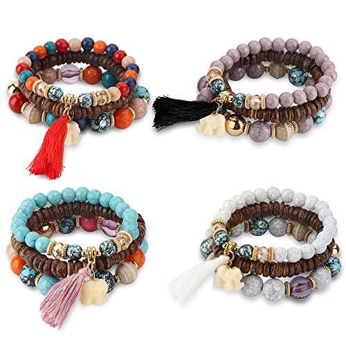 (Thunaraz 4 Sets Bohemian Stretch Beaded Bracelets for Women Girls Multilayer Stackable Bracelets Strand)