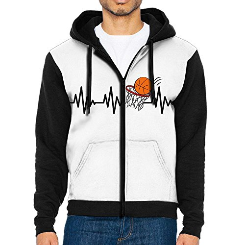 DM&MDHol Basketball Heartbeat Men's Cool Full-Zip Hooded Sweatshirt With Pocket Black Score Full Zip Fleece
