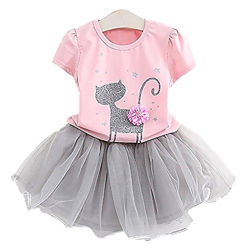 Price comparison product image 2Bunnies Girl Cat 3D Sequin Bow Sparkle Tutu Butterfly Tulle Skirt Dress Sets (4, Pink)