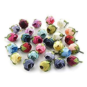 Csoudna Flower Heads for Crafts Bulk Artificial Flower Heads Wedding Party Home Decoration Wreath Fake Flowers for Decoration DIY Crafts Artificial Tea Rose Bud Silk Flower Head Decor 40pcs 3cm 81