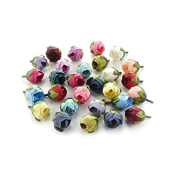 flower heads for crafts bulk artificial flower heads wedding party home decoration wreath fake flowers for decoration DIY crafts artificial tea rose bud silk flower head Decor 40pcs 3cm (white)