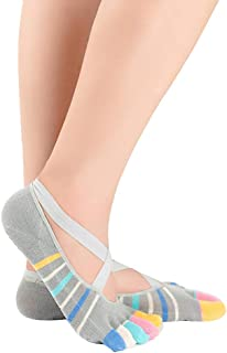Zhuhaimei,3 paia di calzini da barca antiscivolo in silicone di cotone da donna con calzini da ballo 3 paia di calze da yoga a cinque dita con cinturini incrociati calze da barca antiscivolo in cotone da donna(color:blu size:Taglia unica)