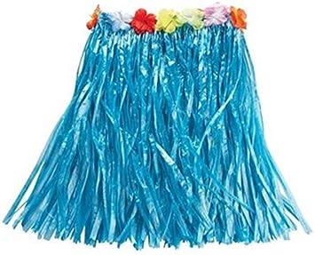 Rubies Falda Hawaiana Color Azul con Flores, Disfraz para Adulto ...