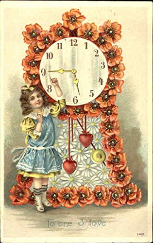 Girl in blue dress next to grandfather clock made of flowers Children Original Vintage Postcard (Grandfather Clock Blue)
