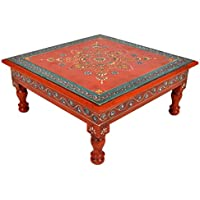 Traditional Handpainted Work Design Wooden Bajot Table Footstool For Christmas Gift 13 X 13 X 5.5 Inches