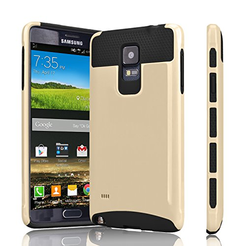 Galaxy Note 4 Case, Tinysaturn(TM) [Ymars Series] [Gold / Black] Hybrid Shock Absorbing Dual Slim Rugged Impact Defender Hard Shell Rubber Scratches-Proof Cover Case For Samsung Galaxy Note 4 SM-N910 For Sale