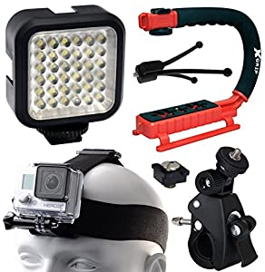 Opteka xGrip Stabilizing Action Grip Handle Handheld Holder (Red), LED Light, Head Strap, Bike Bicycle Handlebar Seatpost Mount, Dust Removal Cleaning Kit for GoPro Hero4 Hero3+ Hero3 Camera