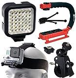 Opteka xGrip Stabilizing Action Grip Handle Handheld Holder (Red) - LED Light - Head Strap - Bike Bicycle Handlebar Seatpost Mount - Dust Removal Cleaning Kit for GoPro Hero4 Hero3+ Hero3 Camera