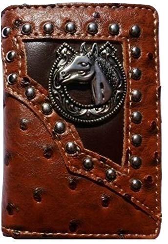 Horse Wallet Western Trifold W013-15 Ostrich Brown ()