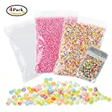 Mini Styrofoam Balls for Slime, Holody 3 Pack Micro Small Foam Beads and 1 Pack Fruit Slices for Making Floam, Rainbow, White and Rose Red, 0.1-0.18 Inch, 61000 Piece